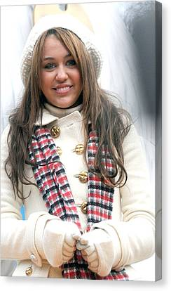 Miley Cyrus At A Public Appearance Canvas Print by Everett