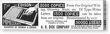 Mimeograph Ad, 1890 Canvas Print by Granger