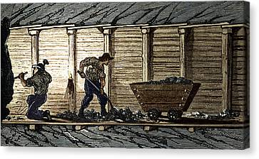 Miners In A Timbered Tunnel Canvas Print by Sheila Terry
