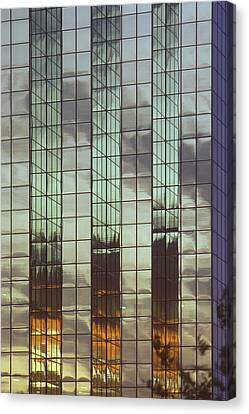 Mirrored Building Canvas Print by Mark Greenberg