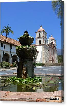 Mission Fountain Canvas Print by Methune Hively
