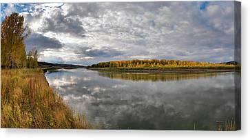Missouri River Autumn Panoramic Canvas Print by Leland D Howard