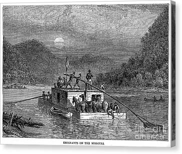 Missouri River: Flatboat Canvas Print by Granger