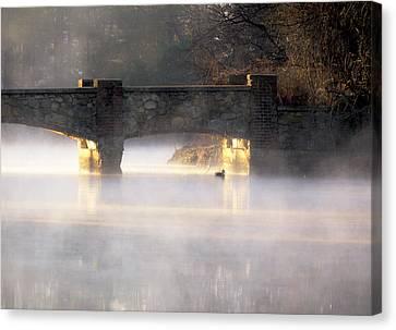 Misty Bridge Sunrise Canvas Print by Vicki Jauron