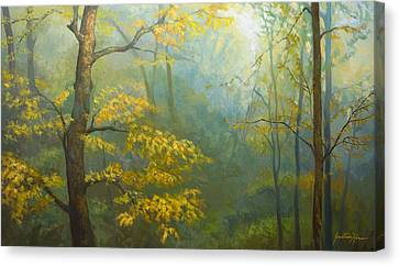 Misty Mountains Canvas Print by Jonathan Howe