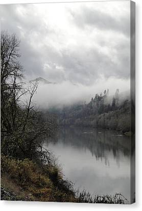 Misty River Drive Along The Umpqua Canvas Print by Alison Foster