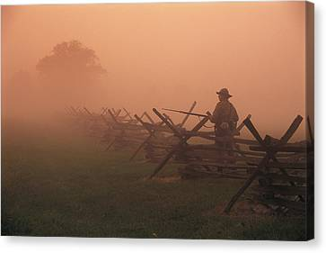 Misty View Of The Civil War Battlefield Canvas Print by Richard Nowitz