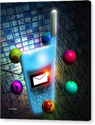 Mobile Telephone Text Messaging Canvas Print by Victor Habbick Visions