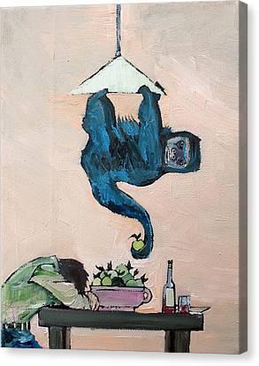 Monkey Stealing An Apple Canvas Print by Fabrizio Cassetta