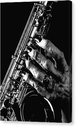 Monster Hand Saxophone Canvas Print by M K  Miller