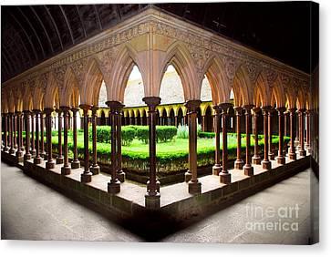 Mont Saint Michel Cloister Garden Canvas Print by Elena Elisseeva