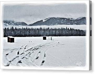 Montana Ice Fishing Canvas Print by Janie Johnson