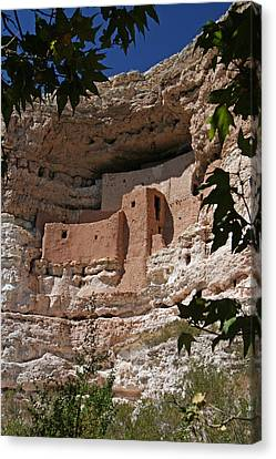 Montezuma Castle Cliff Dwellings In The Verde Valley Of Arizona Canvas Print by Elizabeth Rose