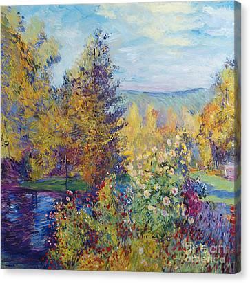 Montgeron  Garden Sur Les Traces De Monet  Canvas Print by David Lloyd Glover