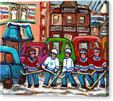 Montreal Bagels And Hockey Canvas Print by Carole Spandau