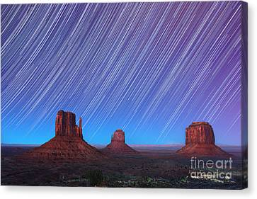 Monument Valley Star Trails  Canvas Print by Jane Rix