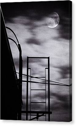 Moon Over Brooklyn Rooftop Canvas Print by Gary Heller