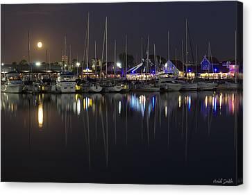 Moon Over The Marina Canvas Print by Heidi Smith