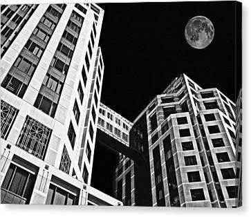 Moon Over Twin Towers 2 Canvas Print by Samuel Sheats