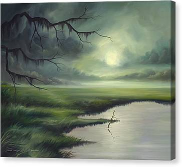 Moon Over Wadmalaw Island  Canvas Print by James Christopher Hill