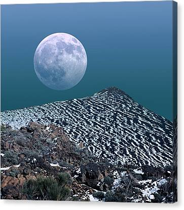 Moon-rise Over A Volcano Canvas Print by Detlev Van Ravenswaay
