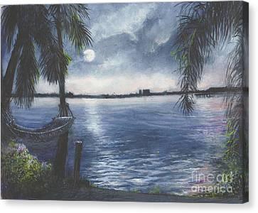 Moonlight At Madeira Beach Canvas Print by Joan Cornish Willies