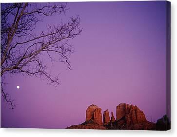 Moonrise Over Oak Creek Canyon Canvas Print by Stockbyte