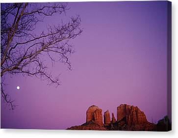 Moonrise Over Oak Creek Canyon Canvas Print by Stockbyte