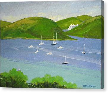 Moored Boats In Charlotte Amalie Bay Canvas Print by Robert Rohrich