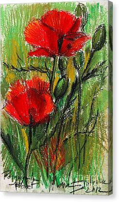 Morning Poppies Canvas Print by Mona Edulesco