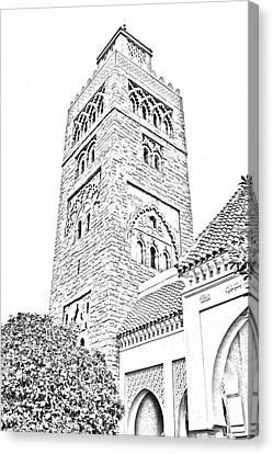 Morocco Pavilion Minaret Epcot Walt Disney World Prints Black And White Line Art Canvas Print by Shawn O'Brien