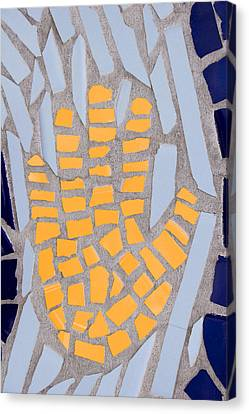 Mosaic Yellow Hand Canvas Print by Carol Leigh
