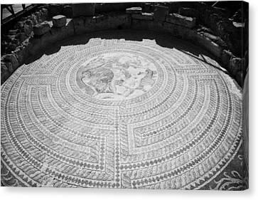 Mosaics On The Floor Of The House Of Theseus Roman Villa At Paphos Archeological Park Cyprus Canvas Print by Joe Fox
