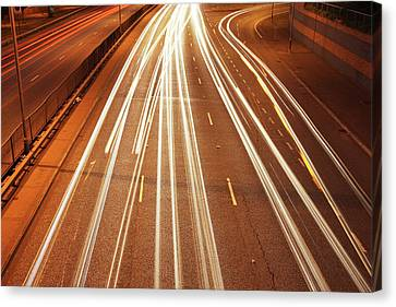 Motorway Light Trails Canvas Print by Richard Newstead