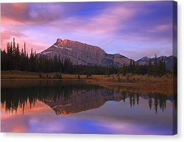 Mount Rundle And The Cascade Ponds In Canvas Print by Carson Ganci