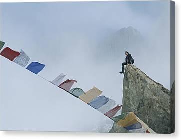 Mountain Climber Alex Lowe Sits Canvas Print by Gordon Wiltsie