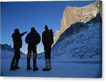 Mountain Climbers On Frozen Stewart Canvas Print by Gordon Wiltsie