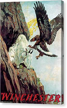 Mountain Goat And Eagle Canvas Print by Lynn Bogue Hunt