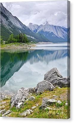 Mountain Lake In Jasper National Park Canvas Print by Elena Elisseeva
