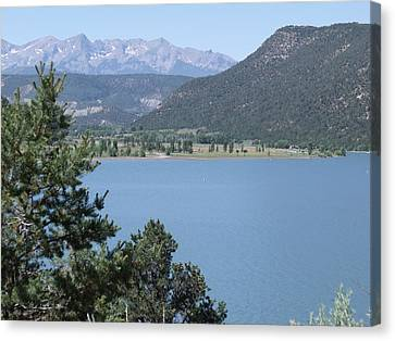 Mountain Lake Canvas Print by Lee Manning