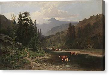 Mountain Landscape With Cattle Canvas Print by William Keith