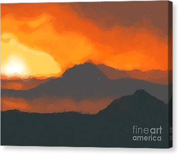 Mountain Sunset Canvas Print by Pixel  Chimp