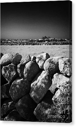 Mourne Granite Irish Dry Stone Wall Ireland Canvas Print by Joe Fox
