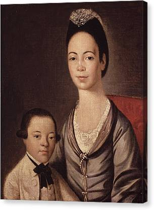 Mrs. Aaron Lopez And Her Son Joshua Canvas Print by  Gilbert Stuart