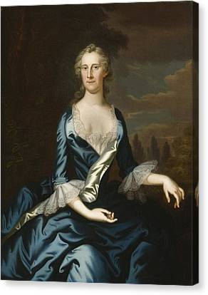 Mrs. Charles Carroll Of Annapolis Canvas Print by John Wollaston