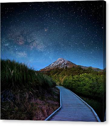 Mt. Ekmond At Night With Starlight Canvas Print by Coolbiere Photograph