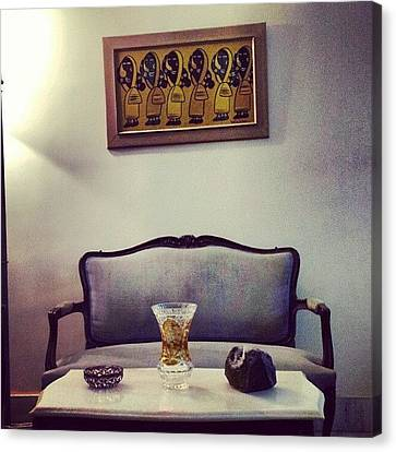 Sofa Canvas Print featuring the photograph #mumbai #home #sofa #painting  #women by Indraneel Banerjee