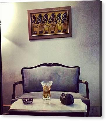 #mumbai #home #sofa #painting  #women Canvas Print by Indraneel Banerjee