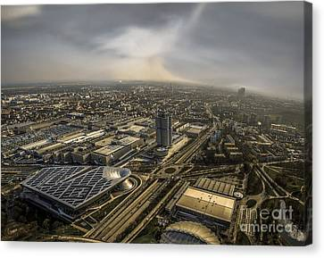 Munich From Above - Vintage Part Canvas Print by Hannes Cmarits