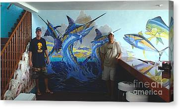 Mural In Bimini Canvas Print by Carey Chen